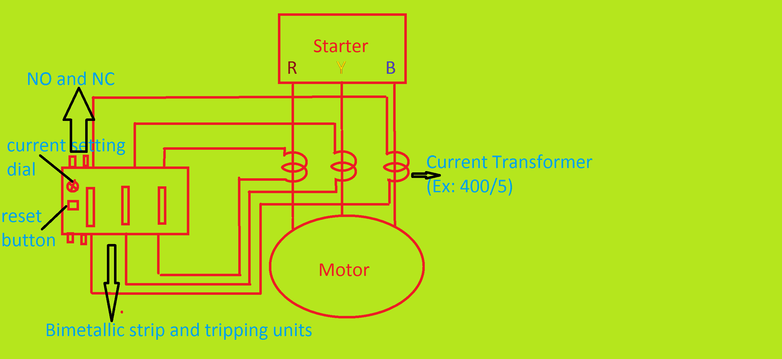 CT Operated Thermal Over Load Relay Current setting