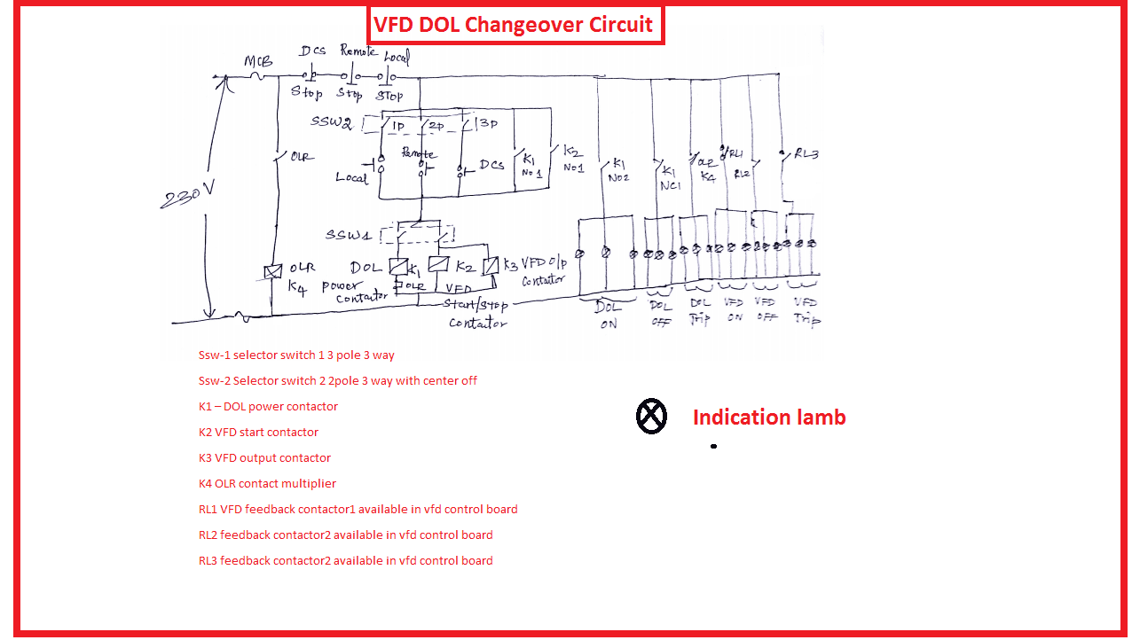 VFD DOL changeover circuit diagram: