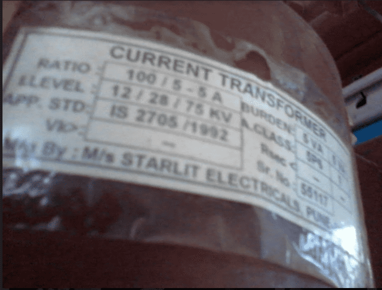 Current transformer name Plate Details