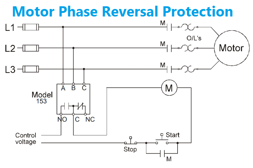 Phase reversal relay Circuit Diagram