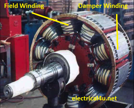 synchronous motor rotor with damper winding