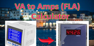 VA to amps calculator with Full load chart
