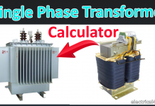 Single phase transformer Calculator