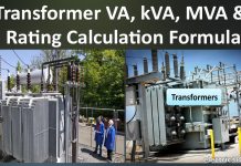 Transformer VA, kVA, MVA Calculator & Rating Calculation Formula