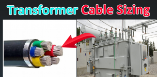 Transformer cable sizing calculation