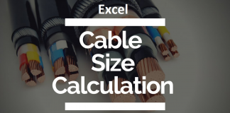Cable size calculation Excel