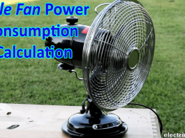 Table fan Power Consumption