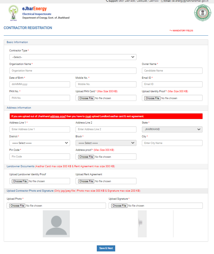 Electrical contractor license form jharkhand